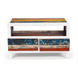 """EcoChic Lifestyles - Cruise Control 40"""" Reclaimed Wood TV Stand - Wide timeworn boards reclaimed from fishing vessels contrast with narrow white framing in the Cruise Control Console, which has a practical maritime air. A great spot for your TV, with an open shelf below and two sizable drawers to keep accessories out of sight."""