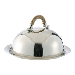 Kathy Kuo Home - Nautical Rope Polished Silver Modern Serving Dome and Charger - Sail through entertaining with this modern serving dome and charger. Crafted from polished silver, it's chic for summer soirees, even relaxed sunset lobster bakes. But don't get landlocked by the nautical theme. This server's laid-back vibe can rope guests into a great time year-round.