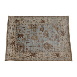 Oriental Rug, 10'x14' Hand Knotted Bamboo Silk Oushak Sky Blue Rug SH14029 - Hand Knotted Oushak & Peshawar Rugs are highly demanded by interior designers.  They are known for their soft & subtle appearance.  They are composed of 100% hand spun wool as well as natural & vegetable dyes. The whole color concept of these rugs is earth tones.