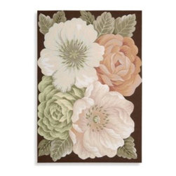 Nourison - Nourison Fantasy Floral Multicolor Rug - Four oversized blooms in gorgeous pastel colors make a bold statement on a chocolate background. Peach, cream and celadon green create a soothing palette that brings the splendor of spring into any room in your home.