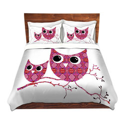 DiaNoche Designs - Duvet Cover Microfiber by Susie Kunzelman - Owl Argyle Pink - Super lightweight and extremely soft Premium Microfiber Duvet Cover in sizes Twin, Queen, King.  This duvet is designed to wash upon arrival for maximum softness.   Each duvet starts by looming the fabric and cutting to the size ordered.  The Image is printed and your Duvet Cover is meticulously sewn together with ties in each corner and a hidden zip closure.  All in the USA!!  Poly top with a Cotton Poly underside.  Dye Sublimation printing permanently adheres the ink to the material for long life and durability. Printed top, cream colored bottom, Machine Washable, Product may vary slightly from image.