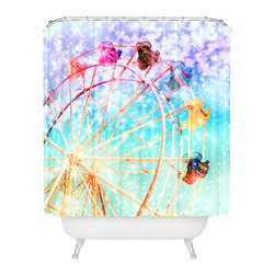 DENY Designs - Lisa Argyropoulos Galaxy Wheel Shower Curtain - Who says bathrooms can't be fun? To get the most bang for your buck, start with an artistic, inventive shower curtain. We've got endless options that will really make your bathroom pop. Heck, your guests may start spending a little extra time in there because of it!