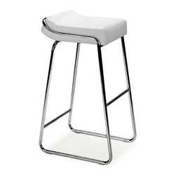 "Zuo Modern - Contemporary Backless Barstools w Faux Leather Seats, Steel Frames - Set of 2 - Whether placed in a home, restaurant, or bar, this attractive, trendy design offers full comfort and great looks to your customers or family.  Enjoy an upscale modern feel while having breakfast seated in one of these modern chairs.  Polished metal and a soft white cushion contrast nicely in this eye-catching seat.  Your contemporary entertaining area will look put together with the addition of these stylish seats.  Add a retro feel to your dining area when you bring these wedge shaped seats into your home. * Set of 2 Stools. White Leatherette Cushion. Chrome Steel Tube Frame. 33"" H x 16"" W x 19"" L. Seat: 32"" H"