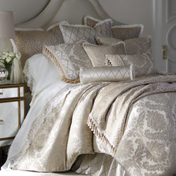 "Isabella Collection by Kathy Fielder - Isabella Collection by Kathy Fielder King Damask Duvet Cover, 110"" x 98"" - We love how this bedding ensemble mixes leafy damask jacquard, leopard spots, and a diamond pattern—all in ivory and gold. Made in the USA of imported polyester and rayon fabrics. Dry clean. From Isabella Collection by Kathy Fielder. Finishing to..."