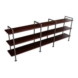 Mortise & Tenon - Chelsea Short Bookcase - Take a little of the café home. This modern bookcase is sweet and low, with espresso-stained wood shelves and dark metal supports. It is one hot and steamy piece of furniture for your home.