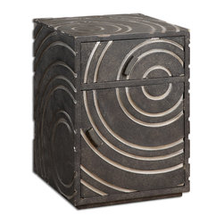 Uttermost - Toma Modern Side Table - Contemporary storage table with silver circles carved into a tarnished pewter finish.