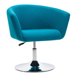 ZUO MODERN - Umea Arm Chair Island Blue - The Umea Chair takes its inspiration from modern European design and mixes it with American details such as the soft wool-like texture of the fabric and the vibrant color offerings.  The base is chrome with swivel and adjustable height.