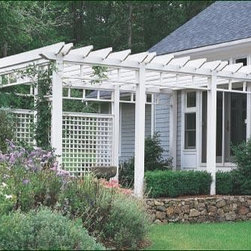 Custom Entry Pergola - This contemporary, sophisticated structure accents the entryway while affording climbing plants the opportunity to flourish.