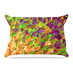 """Kess InHouse - Ebi Emporium """"Follow the Current III"""" Orange Green Pillow Case, Standard (30"""" x - This pillowcase, is just as bunny soft as the Kess InHouse duvet. It's made of microfiber velvety fleece. This machine washable fleece pillow case is the perfect accent to any duvet. Be your Bed's Curator."""