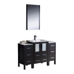 """Fresca - Fresca Torino 48"""" Modern Bathroom Vanity, Espresso - Fresca is pleased to usher in a new age of customization with the introduction of its Torino line. The frosted glass panels of the doors balance out the sleek and modern lines of Torino, making it fit perfectly in either 'Town' or 'Country' décor."""