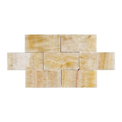 """Marbleville - Honey Onyx 3"""" x 6"""" Polished Brick Pattern  Marble Mosaic Tile - Premium Grade Honey Onyx 3"""" x 6"""" Polished Brick Pattern Marble is a splendid Tile to add to your decor. Its aesthetically pleasing look can add great value to the any ambience. This Mosaic Tile is constructed from durable, selected natural stone Marble material. The tile is manufactured to a high standard, each tile is hand selected to ensure quality. It is perfect for any interior/exterior projects such as kitchen backsplash, bathroom flooring, shower surround, countertop, dining room, entryway, corridor, balcony, spa, pool, fountain, etc."""