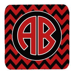 Caroline's Treasures - Chevron For Georgia Personalized 2 Monogram Initial Foam Coasters, Set of 4 - Foam Coaster - 3 1/2 inches by 3 1/2 inches. Permanently dyed and fade resistant. Great to keep water from your beverage off your table and add a bit of flair to a gatering.  Match with one of the insulated coolers or huggers for a nice gift pack.  Wash the coaster in the top of your dishwasher.  Design will not come off.  Made from our mouse pad material and is heat resistant.