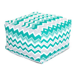 Majestic Home - Outdoor Pacific Zazzle Large Ottoman - Add a little character to your living room or patio with the Majestic Home Goods Large Ottoman. This Ottoman is the perfect accessory to add comfort and style to any room while functioning as a decorative foot stool, pouf, or coffee table. Woven from outdoor treated polyester, these ottomans have up to 1000 hours of U.V. protection and are able to withstand all of natures elements. The beanbag inserts are eco-friendly by using up to 50% recycled polystyrene beads, and the removable zippered slipcovers are conveniently machine-washable.
