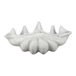 Kenroy Home - Giant Clam Shell Garden Ornament - Roman White Finish. 11 in. H x 28 in. W x 20 in. ExtensionReminiscent of marble and aged plaster, this large decorative shell  leans to the traditional but has universal appeal.  Indoors or out, this decorative ornament is sure to be a welcome addition to any decor.