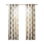 "Best Home Fashion - Linen Blend Medallion Printed Grommet Top 84"" Curtain Panel, Pair, Blue - These gorgeous medallion printed linen blend curtains are a modern decorative touch for your home. Available in three neutral colors, these beautiful curtains will perfectly accent any home décor."