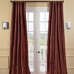 Half Price Drapes - Paprika Faux Silk Taffeta Single Panel Curtain, 50 X 108 - - Defined by a unique sheen and fine weave, our exclusive faux silk taffeta curtain panels are gorgeous and timeless. They have a crisp smooth finish in brilliant shimmering colors. Color is paprika.   - Single Panel   - 3 Rod Pocket   - Corner Weighted Hem   - Pole Pocket with Back Tab Hook Belt Attached. Can be hung using rings. (Not Included)   - Dry clean   - Taffeta 53% Polyester 47% Nylon   - Lined with a cotton blend material  - 50x108   - Imported   - Red Half Price Drapes - PTCH-JTSP87-108