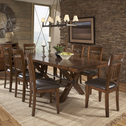 Tribecca Home - TRIBECCA HOME Inverness Warm Oak Turnbuckle Extending Dining Table - Seat more people around the feast with this extending dining table from Tribecca Home. This furnishing comfortably accommodates eight when extended,so it's easy to have guests over for dinner.