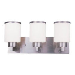 Z-Lite - Z-Lite 312-3V Cosmopolitan 3 Light Bathroom Vanity Light - For a cutting edge modern fixture, look no further than this three light vanity. Milk white shades are complimented with brushed nickel bands, and accented with a modern styled wall mount.Specifications:
