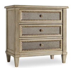 Three Drawer Nightstand, Pearl Essence