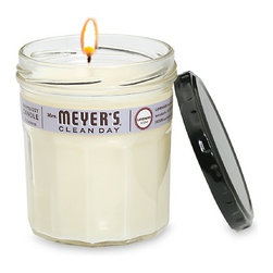 Mrs Meyers - Mrs. Meyer's Clean Day Scented Soy Candle 7.2 OZ, Case Of 6  (6 x 7.2 oz), Laven - Mrs. Meyers Clean Day Soy Candles add an irresistible aroma to your home without any of the hassle or worry over synthetics or chemicals often present in other scented candles. The candle itself is vegetable based (primarily soy wax and essential oils), and the wick is made from unbleached cotton with a paper core. No more worries over any harmful chemicals or additives coming up into the air along with the scent and smoke, these candles are 100% natural. Each candle also comes in a recycled jam jar, which can be used for a variety of activities after the candle has burned all the way through.