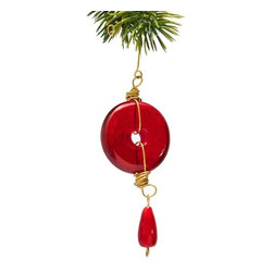 Sitara Collections - Handmade Red Glass and Brass Wire Christmas Ornament - Warning: the Simple Splendor of this ornament May Tempt You to Buy a Tree Full! Featuring a Smooth Disc with a Cut-Out Center Flanked by Coils of Lovely Brass Wire, It includes a Smaller Pear-Shaped Drop Bead That offers a Lovely Final Detail. Its an Effortless Way to add Holiday Cheer without Creating a Fussy, Overdome Look. available in Red and Clear. Glass ornament with Glass Dangle, Brass Trim and ornate Hook Glass ornament is Handcrafted in india Materials: Glass, Brass Dimensioms: 6 inches Lomg X 1.75 inches Wide X 0.3125 inches Deep.