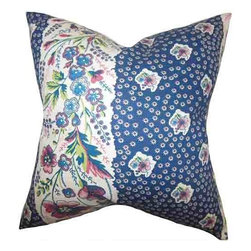 The Pillow Collection - Elske Blue 18 x 18 Floral Throw Pillow - - Pillows have hidden zippers for easy removal and cleaning  - Reversible pillow with same fabric on both sides  - Comes standard with a 5/95 feather blend pillow insert  - All four sides have a clean knife-edge finish  - Pillow insert is 19 x 19 to ensure a tight and generous fit  - Cover and insert made in the USA  - Spot clean and Dry cleaning recommended  - Fill Material: 5/95 down feather blend The Pillow Collection - P18-D-GENISSE-SAPPHIRE-C95-L5