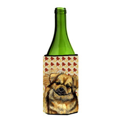 Caroline's Treasures - Tibetan Spaniel Fall Leaves Portrait Wine Bottle Koozie Hugger - Tibetan Spaniel Fall Leaves Portrait Wine Bottle Koozie Hugger Fits 750 ml. wine or other beverage bottles. Fits 24 oz. cans or pint bottles. Great collapsible koozie for large cans of beer, Energy Drinks or large Iced Tea beverages. Great to keep track of your beverage and add a bit of flair to a gathering. Wash the hugger in your washing machine. Design will not come off.