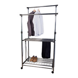 Danya B. - Folding Telescopic Double Garment Rack - Folding Telescopic Double Garment Rack is like a rolling laundry center that offers plenty of hanging space. With its two fully adjustable hanging rods extending from 43 to 69 inches high, it can accommodate both longer and shorter items. Two wire shelves provide extra storing space for shoes, bags and laundry supplies. This space saver rack has four wheels and folds completely for storage when not in use. Made of chromed steel, this organizer is easy to fold and adjust, easy to move, strong and durable. A must addition to any busy laundry room!