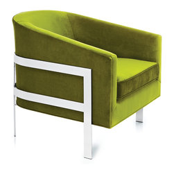 Mitchell Gold + Bob Williams Avery Chair - Sleek modern metal is combined with plush upholstery to stylish effect. The Avery is suspended in a polished stainless steel frame, curving to conform to the chair's shape.