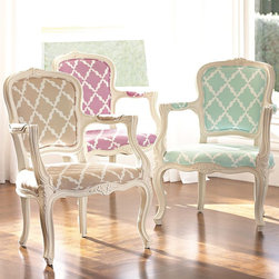 Lattice Ooh La La Armchair - J'adore this French-inspired accent chair with the modern Moroccan pattern.