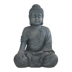Buddha Groove - Garden Buddha Statue, Grey, 22 Inches - Anchor your green spaces in tranquility with this serene meditating Buddha statue.