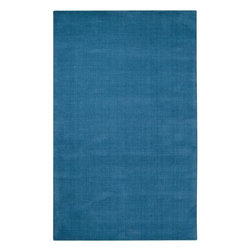 None - Hand-crafted Teal Blue Solid Casual 'Ridges' Wool Rug (3'3 x 5'3) - This Ridges rug features hand-loomed wool construction in a beautiful teal color. A plush 0.625-inch,cut-and-loop pile adds softness and warmth to this stylish rug.