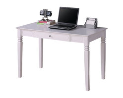 Walker Edison - Walker Edison Elegant Solid Wood Writing Desk in White - Walker Edison - Computer Desks - DW48S30WH - Bring a touch of elegance to your home office with this solid wood desk. This desk offers a sleek modern design crafted with solid hardwood. The size provides for maximized workspace and the design creates a look that is both attractive and simple. This desk compliments any room and is a great addition to any home office.