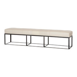 Kathy Kuo Home - Cruz Modern Classic Ivory Leather 90 Inch Bench - Contemporary design lovers from approaches as diverse as industrial loft to Asian modern will all love this modern leather upholstered bench.  Creating an instant feeling of air and geometry, the open framed base of this piece is as alluring as the inviting seat which it supports.  In a hallway, next to a wall or at the foot of a bed, this is one piece that just works wherever it is placed.