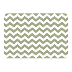 Bungalow Flooring - Premium Comfort Chevron Kitchen Mat, Sage - Woven polyester face captures colors and graphics in near photographic quality.