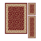 Tayse Rugs - Elegance Red Blue and Green Area Rug Sets Three Piece Set - - Scrollwork interior with floral border makes this rug a perfect companion to traditional or transitional d�cor. In classic colors that are always in fashion. Red with gold and ivory. Made of soft polypropylene that is easy to clean. Vacuum and spot clean.  - Square Footage: 47  - Pattern: Oriental  - Pile Height: 0.39-Inch  -3 piece rug collection: 5? x 7?, 20 x 60, and 20 x 32 Tayse Rugs - 5400  Red  3 Pc. Set