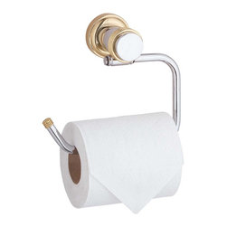 Renovators Supply - Toilet Paper Holder Bright Chrome Tissue Holder - Chrome with Brass accent, this is part of our Spectrum Bath Collection.