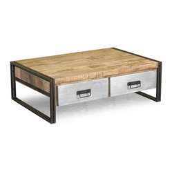 Reclaimed wood and iron coffee table with metal drawers