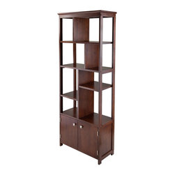"Winsome Wood - Winsome Wood Oscar Display Shelf with Antique Walnut Finish X-72849 - The Oscar Modern Display Shelf and Cabinet serves a variety of storage and display purposes.  A vertical display shelf saves space while providing a safe haven for your d&#233:cor, books and more.  Create a unique look and shelving needs with various shelf positions either veridical or horizontal.  Switch shelf positions to achieve your desire storage display needs.  Bottom enclose cabinet is perfect for additional storage.  Overall shelf dimension is 26.14""W x 12""D x 68.11""H.  Constructed with combination of solid and composite wood in warm walnut finish."