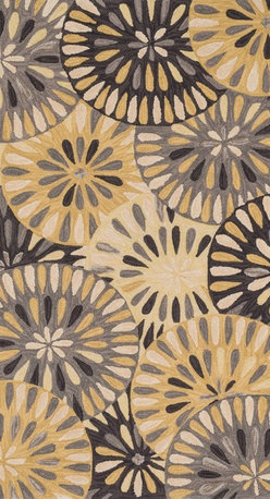 """Loloi Rugs - Loloi Rugs Gabriella Collection - Grey / Gold, 3'-6"""" x 5'-6"""" - The Gabriella Collection is hand crafted in China of 100% polyester in a cut-and-loop, high low construction. Featuringmodern floral reinterpretations, each design is punctuated by a raised texture and complemented by the perfect palettefor today's interior. And like all of our 100% polyester rugs, Gabriella is highly stain and fade resistant, making for theideal foundation in a busy room."""
