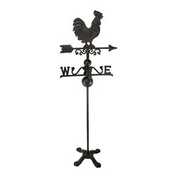 Cast Iron Rooster Weathervane 40 Inches Tall Garden Decor - This cast iron weathervane adds a charming rustic accent to your home or garden. It measures 40 1/2 inches tall, on a 10 1/2 inch by 10 1/2 inch base, with the directional arrow measuring 14 inches long. It can be mounted to a pedestal or partially buried in your garden. This piece has a lovely rust colored finish, and makes a great gift for friends and family.