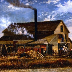 """William Aiken Walker Cotton Gin, Adams County, Mississippi   Print - 16"""" x 24"""" William Aiken Walker Cotton Gin, Adams County, Mississippi premium archival print reproduced to meet museum quality standards. Our museum quality archival prints are produced using high-precision print technology for a more accurate reproduction printed on high quality, heavyweight matte presentation paper with fade-resistant, archival inks. Our progressive business model allows us to offer works of art to you at the best wholesale pricing, significantly less than art gallery prices, affordable to all. This line of artwork is produced with extra white border space (if you choose to have it framed, for your framer to work with to frame properly or utilize a larger mat and/or frame).  We present a comprehensive collection of exceptional art reproductions byWilliam Aiken Walker."""