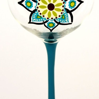 Hand Painted Just Spice Graphic Wine Glass, Holds 18 Oz, Assoted Colors - In A G - Hand Painted Wine Glasses are perfect for a birthday party, holiday, graduation, or a festive gathering with friends.