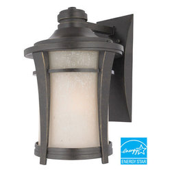 Quoizel Lighting - Quoizel HY8409IBFL Harmony 1 Light Outdoor Wall Light, Imperial Bronze - Long Description: This clean design has minimal ornamentation and and pure lines, giving it a peaceful, Zen-like appeal. The soft glow and texture of the linen glass add a special warmth to the exterior of your home. This fixture uses energy-efficient flourescent bulbs, which are included, and is Title 24 compliant.
