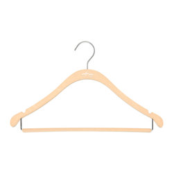 "Clos-ette Too - Clos-ette Too Slim Hanger with Bar - Nude, Set of 20 - We call our Clos-ette Too Slimline Hangers, ""the skinny hangers"". Related to the shirt hanger, these hangers feature a trouser bar to easily hang slacks and skirts. Flocked with velvety non-slip material to prevent slipping and featuring a shorter drop than the average hanger, our signature Clos-ette Too slim hangers are the most efficient way of gaining horizontal and vertical space in your closet and keeping garments in place."