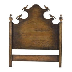 """Guildmaster - Headboard with Carved Birds by Guildmaster - Reminiscent of birds atop cresting waves which build to a center peak. The Guildmaster Headboard with Carved Birds possesses a casual charm. Each post is accented with carved wood finials. A splendid for a guest room in your home or cabin. (GM) Queen: 68"""" Wide x 72"""" High x 4.25"""" Deep King: 84.5"""" Wide x 72"""" High x 4.25"""" Deep"""