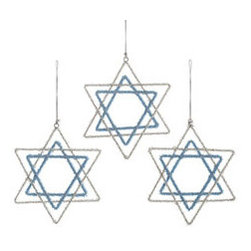 Star of David Ornaments - Set of 3 - New - Celebrate Hanukkah in style with these beaded Star of David ornaments, a simple and sincere reminder of your faith. If your household doesn't celebrate the season with a tree, hang them from your chandelier or on the wall, or incorporate them as part of a centerpiece. Each one is crafted with beads that glisten in the light.