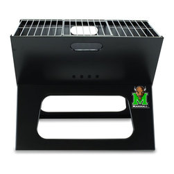 "Picnic Time - Marshall University X-Grill Folding Portable Charcoal BBQ Grill - The X-Grill is the folding portable charcoal BBQ grill with a slim line design. Compact and easy to assemble, the X-Grill provides a grilling surface of 203.5 sq. in. The X-Grill includes 1 electro-plated iron barbecue grill, 1 chrome-plated tri-fold cooking grate (18.5"" x 11"") and 1 charcoal grate (all stored conveniently inside the folded grill), and 1 durable 600D polyester carrying tote. So why be confined to your backyard? With the X-Grill, you can take the BBQ wherever you want to go!; College Name: Marshall University; Mascot: Thundering Herd; Decoration: Digital Print; Includes: 1 electro-plated iron barbecue grill, 1 chrome-plated tri-fold cooking grate (18.5"" x 11"") and 1 charcoal grate (all stored conveniently inside the folded grill), and 1 durable 600D polyester carrying tote."