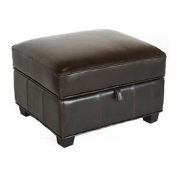 Baxton Studio Benvolio Leather Storage Ottoman - Dark Brown - Stylish storage is what you get with the Baxton Studios Benvolio Leather Storage Ottoman - Dark Brown. The padded top provides you with a comfortable place to sit or prop your feet up. The fabric-lined interior offers spacious storage for reading material, remotes, and all manner of odds and ends. Constructed with a strong kiln-dried hardwood frame, this square storage ottoman sits on solid rubberwood legs with floor protectors. It's upholstered in dark brown bi-cast leather, which holds up well to daily use. About Baxton StudiosThis item is designed and manufactured by Baxton Studios, a furniture company based near Chicago. A lot goes into the making of Baxton Studios furniture, and it all starts with attention to details. They hand select their unique line of leather and micro-fiber fabrics. Their furniture is padded with high polyurethane foam to create the body contouring comfort and support for which Baxton Studios is famous. All frames are constructed of high quality wood or steel on select models, providing sturdy frame construction that exceeds industry standards. Baxton Studios is committed to constantly providing stylish and unique furniture for the best value to help you create a comfortable living space with ease and confidence.
