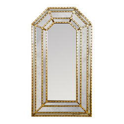 "Worlds Away - Worlds Away - Murphey Gold Leaf Mirror - MURPHEY G - Worlds Away touches the home with marvelous of-the-moment treasures inspired by vintage finishes, patterns and styles. Elegantly modern, the Murphey mirror offers glamorous design in a living room, bedroom or foyer. This handcarved wall hanging features an angular shape and a sleek gold finish for metallic allure. Mirror hangs from sawtooth hangers on back.Features:Murphey Collection�Mirror�Gold Leaf FinishGlamorous designAngular shapeModern StyleSome Assembly Required Dimensions:�26""W x 2.5""D x 46.5""H"